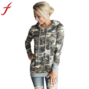 Womens Blouse Camouflage Printing Pocket Hoodie Long Sleeve