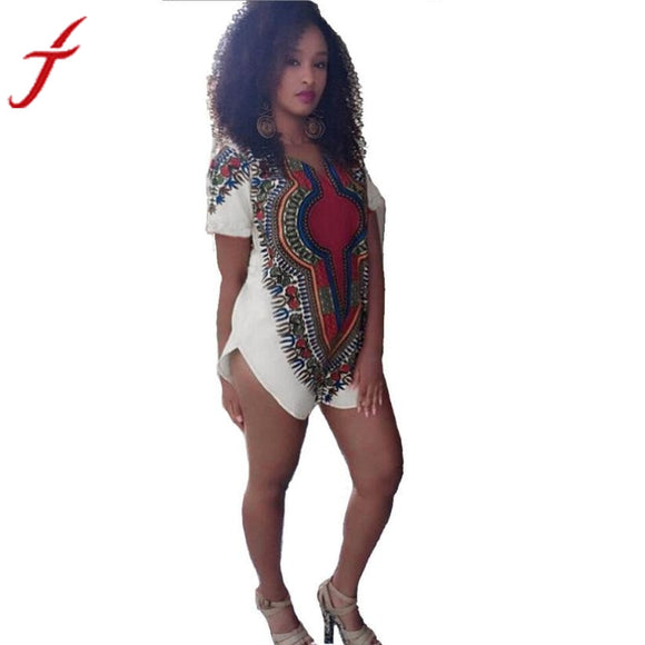 Traditional Tribal African Dashiki Party Hippie  Short sleeve Dress