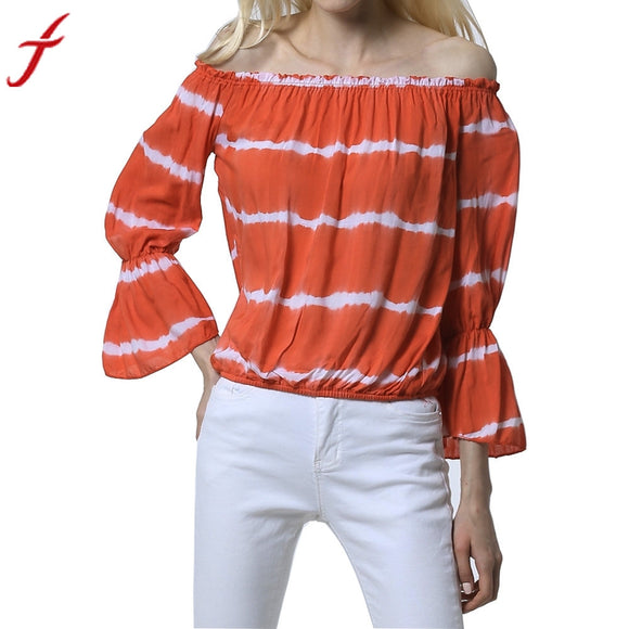 Orange White Striped Blouse Casual Women Off Shoulder Long Sleeve Blouse