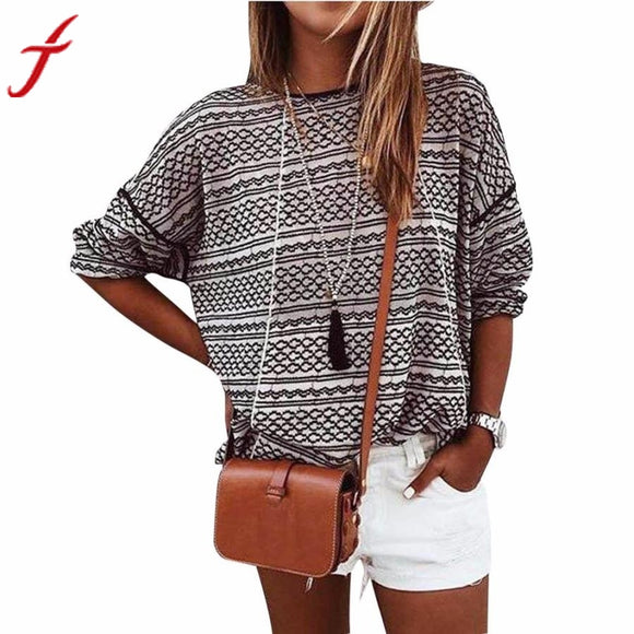 Loose Stripe Stitching Long Sleeve Round Neck Tops Shirt Blouse
