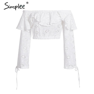Simplee Sexy off shoulder ruffles hollow out blouse Women long sleeve
