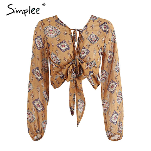 Simplee Deep v neck print chiffon blouse shirt Women long sleeve bow tie