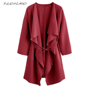FLORHO Women Solid Color Kimono Cardigan 3/4 Long Sleeve Blouse