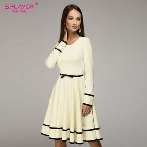 O-neck long sleeve knee-length dress Elegant women casual solid