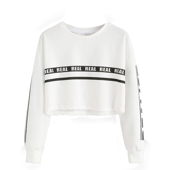 Women Fashion White Letter Print Crop Sweatshirt Top Blouse