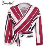 Simplee Classic striped v neck wrap chiffon blouse shirt women Sexy off shoulder