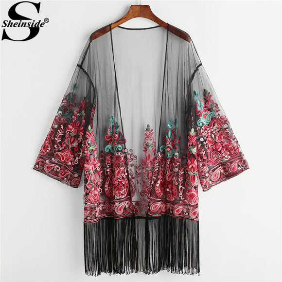 Sheinside 2018 Spring Casual Fringe Trim Paisley Embroidered Mesh Kimono