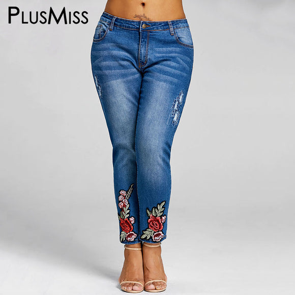 5XL Floral Embroidery Jeans