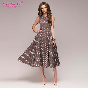 elegant thin dot printing Mid-Calf casual dress