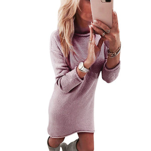 Women Solid O-Neck Sweater Long Casual Long Sleeve Pullove Dress