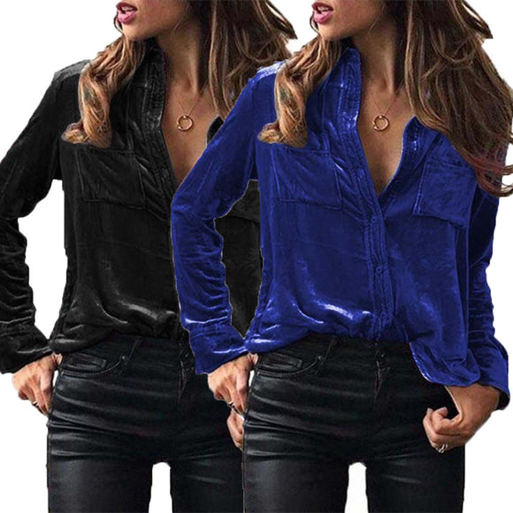 Womens Solid Velvet Turn-dowm Collar Long Sleeve T-shirt Tops Blouse