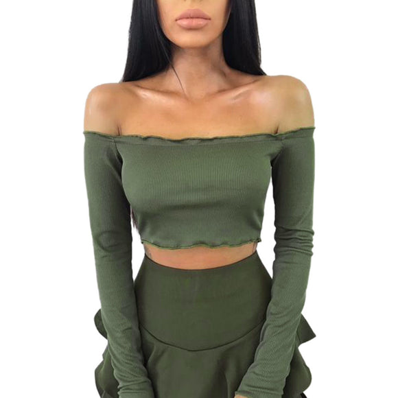 Womens Off Shoulder Crop Tops Frill Bralet Boobtube Jumper Tops Blouses