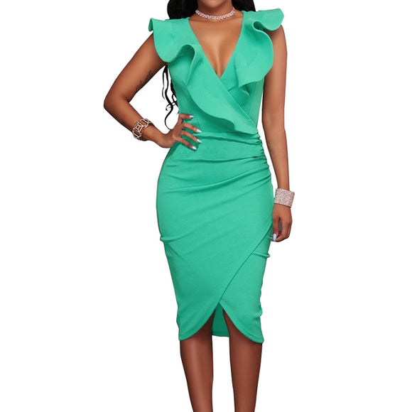 Sexy Ruffles V Neck Sleeveless Pencil Club Party Dresses