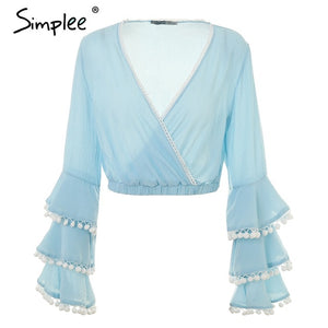 Sexy V neck ruffle blouses shirts Tassels long sleeve blouse women summer