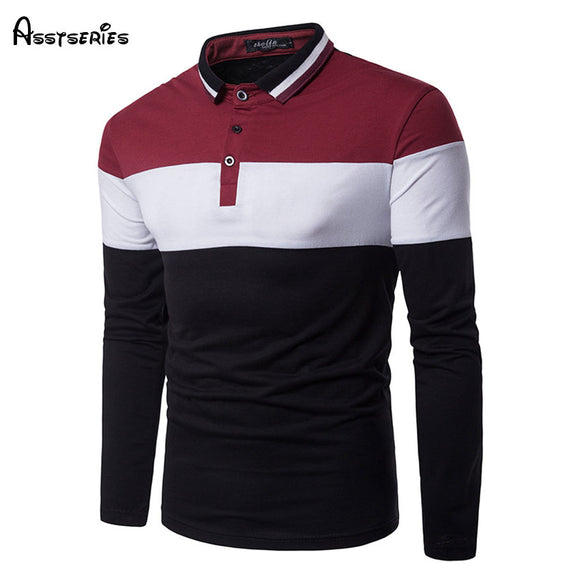 2018 Men's Shirt Fashion Men Strike Color Turn-down Collar Men Leisure