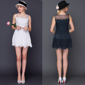Women Lace Dress Crochet Patchwork Mesh Round Neck