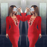 Women Plunge V Neck Criss Cross Strap Design Long Sleeve Bodycon