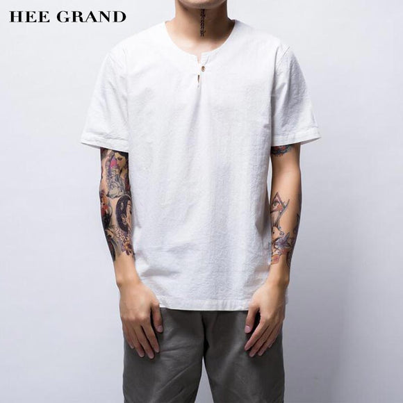 HEE GRAND Men Cotton Linen Material Chinese Traditional Plus Size M-4XL