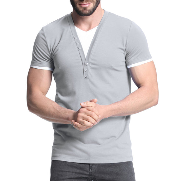 2018 Men's T-shirts Short Sleeve V Neck Slim Fit T