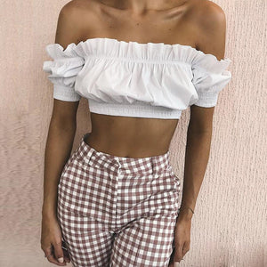 Women Sleeveless Tops Off The Shoulder Blouse T Shirt Vest