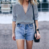 ZANZEA Fashion 2018 Women Tops Autumn Vintage Striped Blouses Shirts