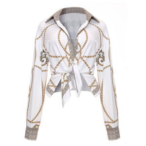 Fashion Blouse 2018 Plus Size Women Clothing Gold Chain Printed  Long Sleeve