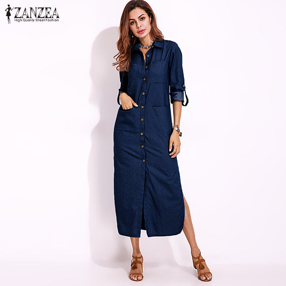 Long Sleeve Buttons Down Shirt Dress