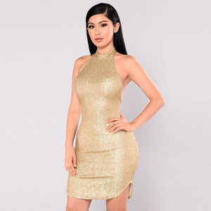 Women Sequin Sleeveless Halter Dress