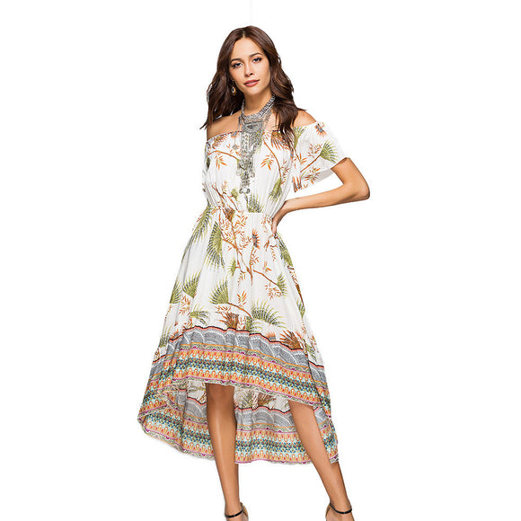 2018 Summer Women Boho Maxi Dress Off Shoulder Slash Neck