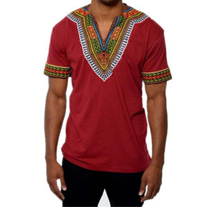 African Traditional Clothes Dashiki Male Shirt V Neck Short Sleeve