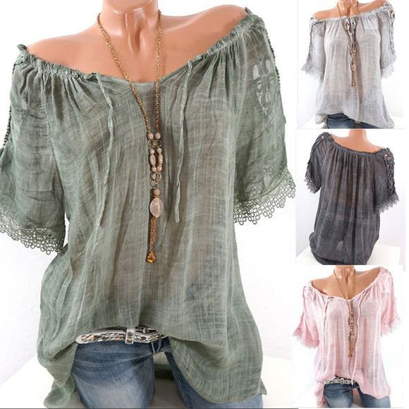 Women Short Sleeve Lacepatchwork T Shirts Off Shoulder Loose Blouse Tops Shirt