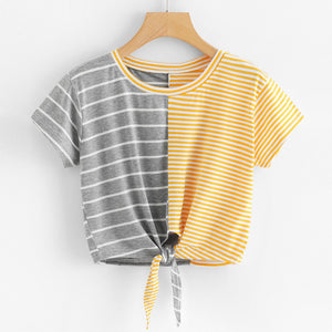 Womens Fashion Short Sleeve O-Neck Stripe Tee Bow Bandage Blouse Tops T-Shirt