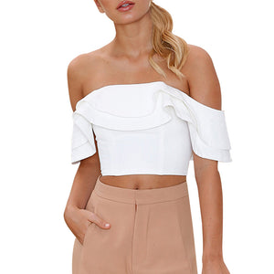 Women Ladies Sexy Ruffle Shirt Off Shoulder Short Shirt Blouse Tops
