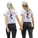 Women Best Friend Letters Rose Printed T Shirts Causal Blouses Tops