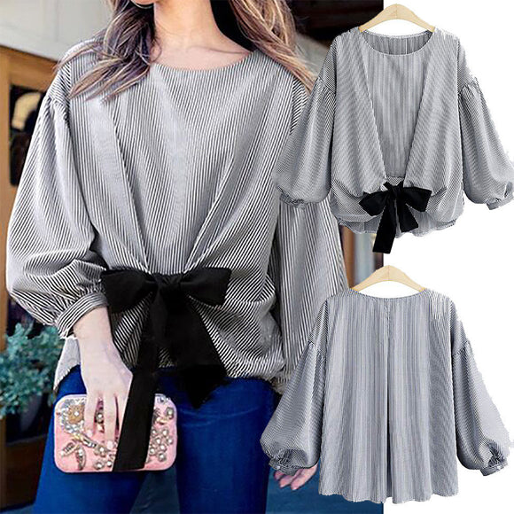 Women Plus Size Bandage Striped Lantern Sleeve Pullover Crop Shirt Tops Blouse