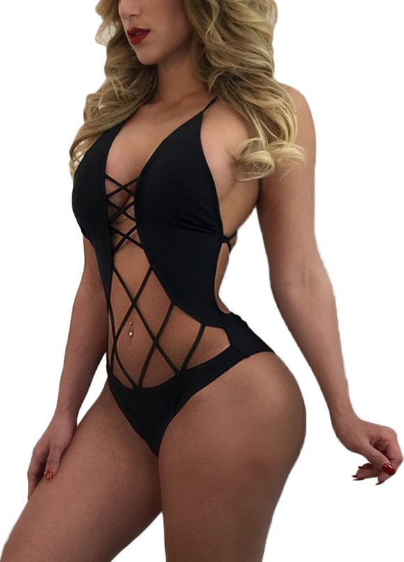 New Sexy Women Bandage Swimsuit Monokini Strappy Hollow Out Backless