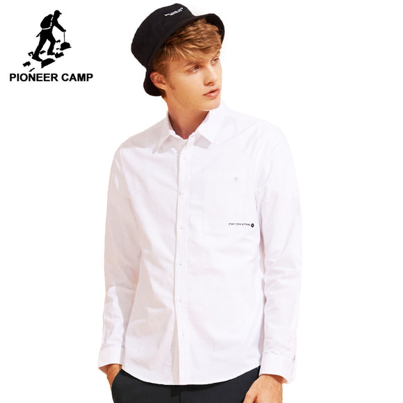 Pioneer Camp New casual shirt  brand clothing simple small letter printed