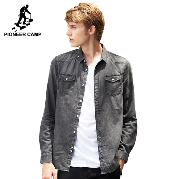Pioneer Camp high quality casual shirt men brand-clothing solid grey denim