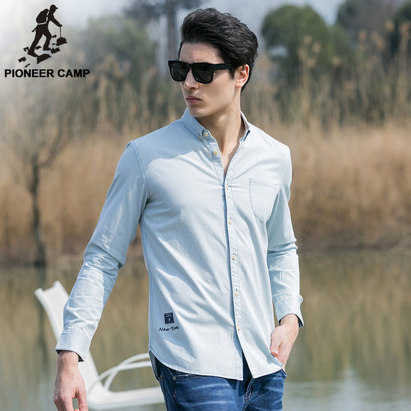men shirts solid slim fit casual male social