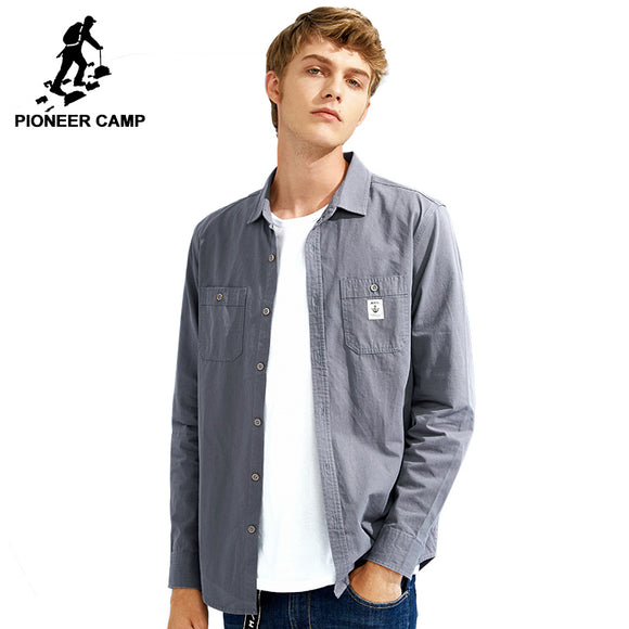 Pioneer Camp new arrival solid casual shirt men brand clothing 100% cotton