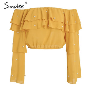 Sexy off shoulder ruffle blouse shirt Pearl long sleeve cropped women blouses