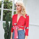 Women wrap waist long sleeve blusas 2018 Summer beach casual tops