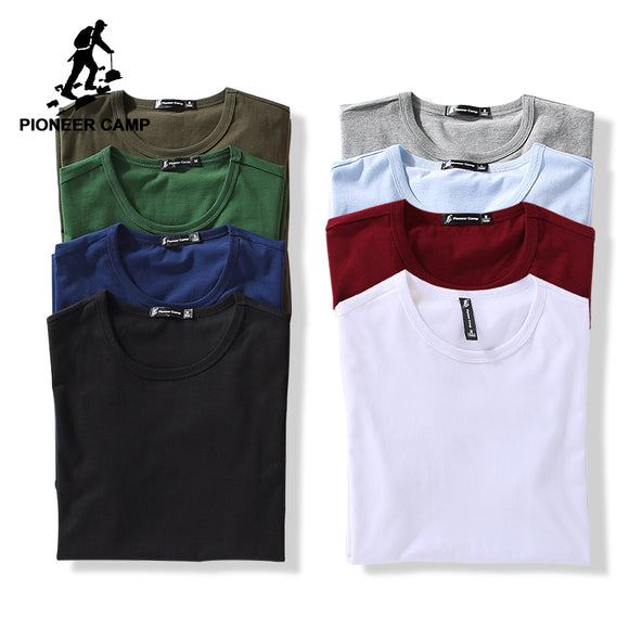 men brand clothing summer 100% cotton solid t-shirt