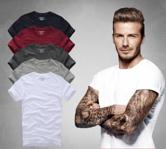 2018 summer brand men's short-sleeved 100% cotton T-shirt