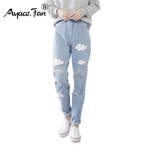 Cloud Print Ripped  Cotton Slim Vintage High Waist Denim