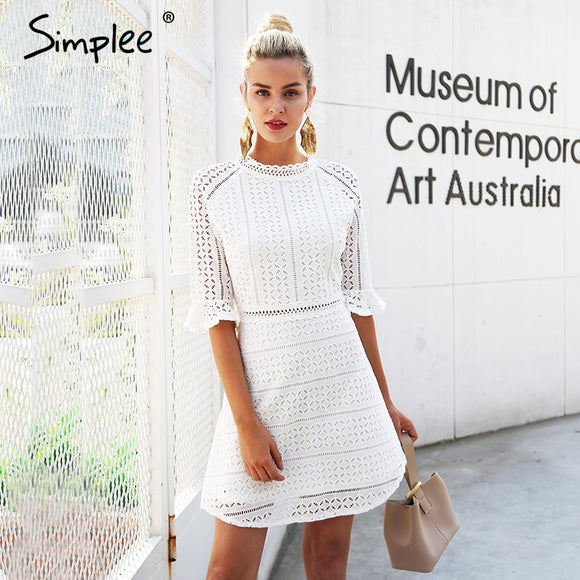 hollow out lace dress  midi white
