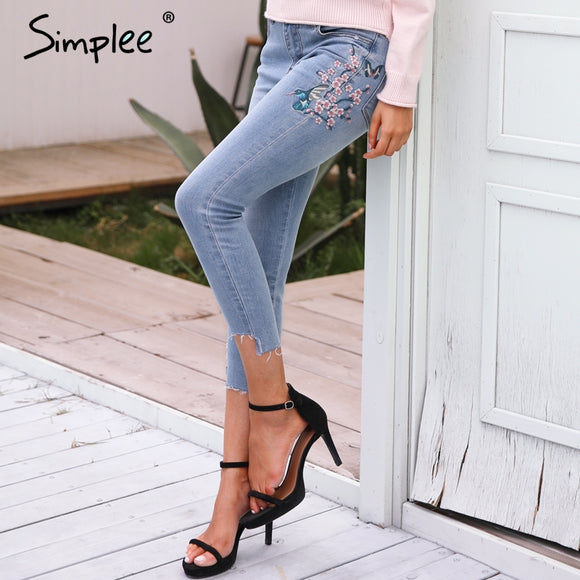 high waist calf length pants  Light blue long denim pants women