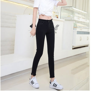 Ankle-Length Black Jeans Students High Waist Stretch Skinny