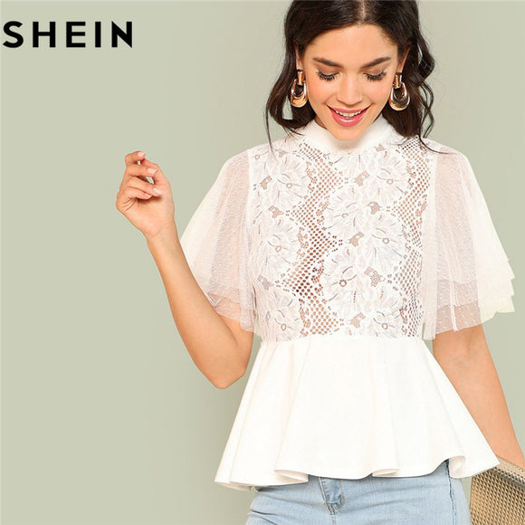 Elegant White Women Sheer Blouse Stand Collar Short Sleeve