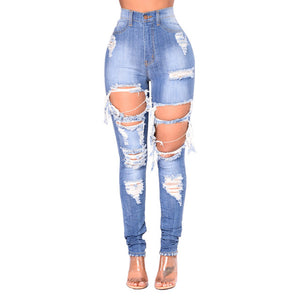 Blue Hole Mom Jeans  Destroyed High Waist